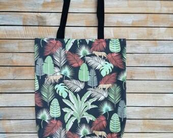 01f8bb1d95 Tote Bag cabas tissu tropical exotique imprimé panthère jungle, vert, roux,  fond noir. Mousqueton. Sac plage, sac shopping. Sangles noires.