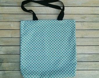 776a66940d Tote Bag vert canard, sac cabas pliable, tissu japonais imprimé, sac  shopping sac courses, tissu écailles vert bleuté. Mousqueton pour clé.