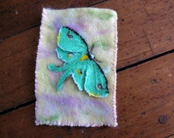 Needle felt luna moth phone case