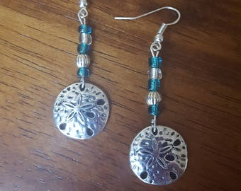 Silver Tone Sand Dollar Earrings with Blue Glass Beads
