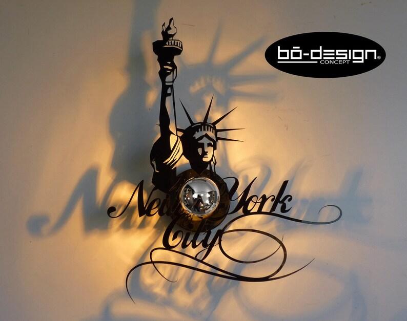 E1440 La Brillant 45x36 Luminaire Noir New Murale Watts York 220 Verre Acrylique Statue Liberté Cm applique Design Plexiglas Applique De V IWDH29YE