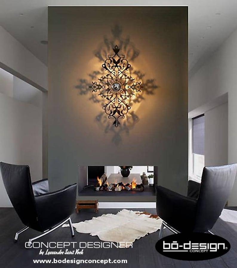 ombre 90x60 Design Baroque Cm Murale Effet lampe Portée applique Baroque Baroque Applique luminaire luminaire Miroir Contemporain 0wvnNm8