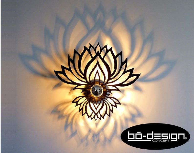 Applique murale designzenfleur de lotus cm noirombre etsy