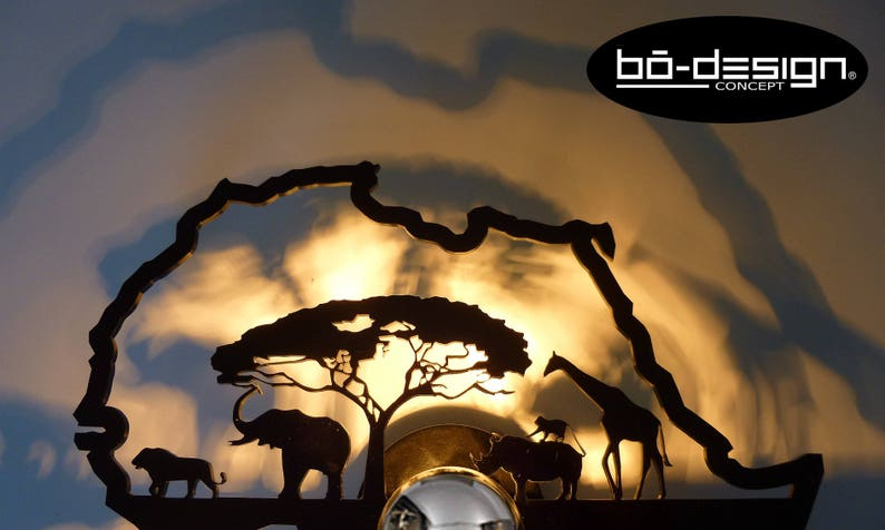 deco Afrique Design 220 applique Portée Africa singe 110v savane elephant Murale luminaire V Déco lighting Wall Afrique african Design ombre hrdCtsQ