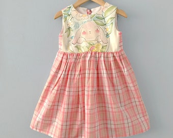 Ready to Ship, Taranakite Girls Dress, Girls Dress, Girls Rabbit Dress, Toddler Dress, Girls Bunny Dress, Rabbit Pink Plaid Dress 3T