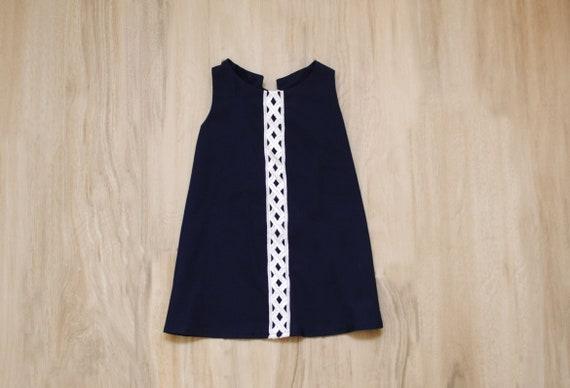 Girls Navy Dress Size 18 Months Girls Dress Girls Navy Dress Girls Lace Dress Toddler Dress Girls Blue Dress White Lattice Dress