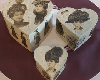 "Set of 3 hearts N 554 1900 fashion prints ""pull"""