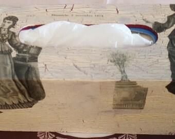 N 605 fashion prints 1872 tissue box