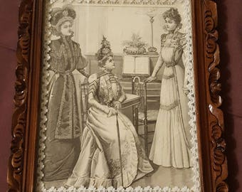 Small frame restored carved N 538 engraving fashion 1900 under glass