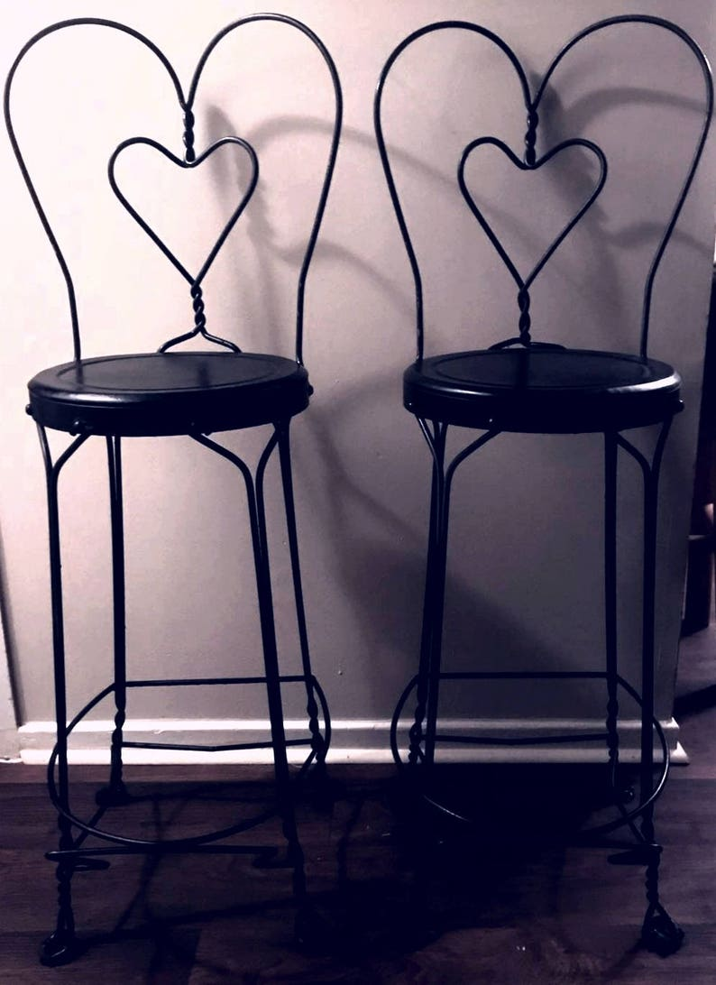 Swell Vintage Pair Of Ice Cream Parlor Chairs Bar Stools Barstools Heart Back Tall Wrought Iron 1940S Cjindustries Chair Design For Home Cjindustriesco