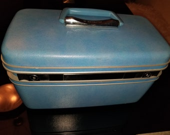 Vintage Samsonite Train Case Luggage Makeup Decor Storage Blue