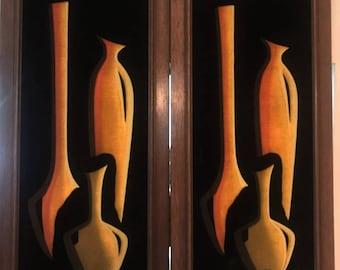 La Riviere Mid Century Vintage 1960's Danish Modern Orange Brown Vases Bottle Velvet Painting- Pair