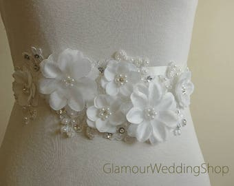 Wedding Belt Bridal Belt Sash Bridal Sash Belt Flowers Sash Pearls Belt Wedding Belt Sash Crystal Wedding Belt