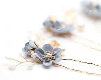 bridesmaid hair pins wedding flowers Navy blue hair pins transparent hair pins handmade accessories navy blue sew on ornaments