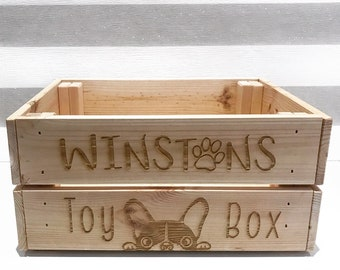 76717dc9bff Dog Toy Crate - Hamper Gift - Wooden Engraved Personalised - Storage - Pets  - Frenchie