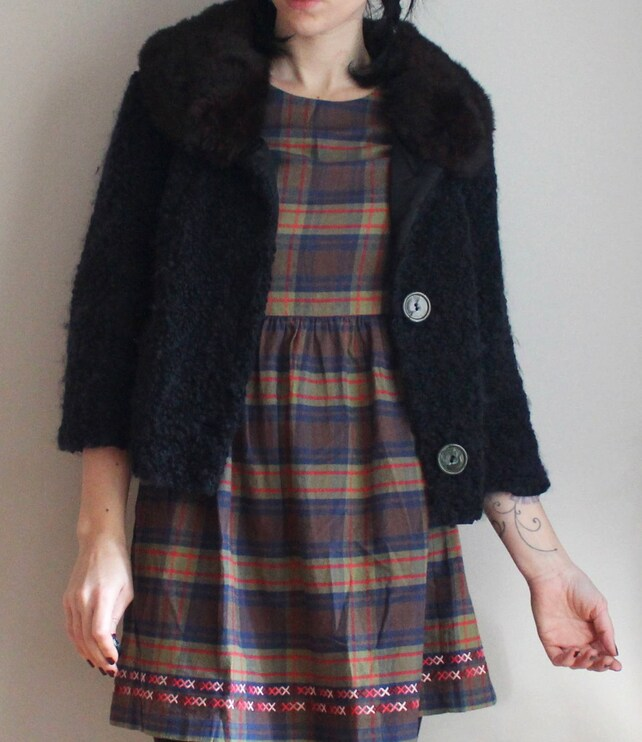 81772417d9554 Womens Cropped Swing Coat // 3/4 Sleeve // Fur Collar //