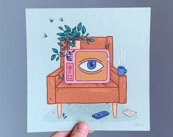 Watching TV: 6x6 in. Art Print