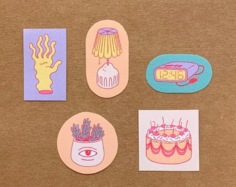 Handmade Sticker Pack 01 — Illustrated Paper Sticker Set, Small Stationary Stickers