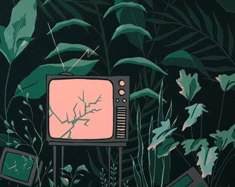 Retro TV and Plants — Limited Edition Linocut Print