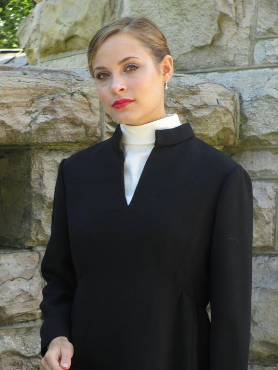 1960s Mod Black Long Sleeved Wool Teal Traina Dres