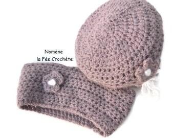 Hat and little Choker, purple, hand made crochet, mini snood, headband, purple headband.
