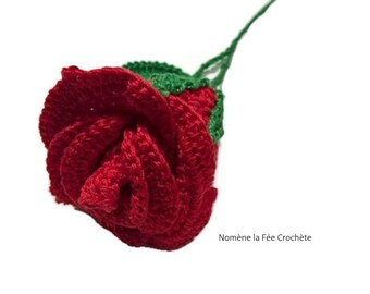 Red pink crocheted flower for decoration, handmade, romantic,