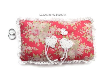 Customizable display pillow, wedding ring pillow, handmade, red floral linen fabric, white hearts.