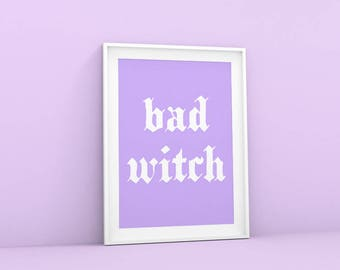 Purple Aesthetic Print Pastel Witch Art Wall Bad Printable Tumblr Room Decor