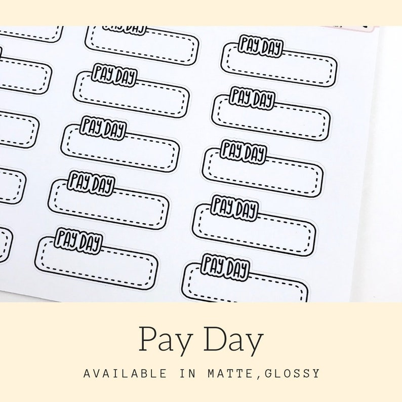 Pay Day Stickers  Planner Stickers  Finance Stickers  image 0