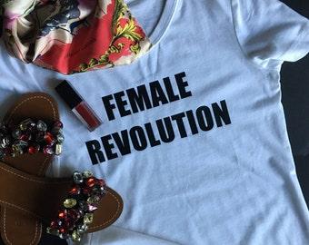 Female Revolution T-Shirt Black and White Short Sleeves Women's Girl Power Feminist Message T-Shirt