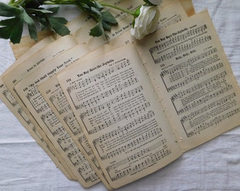 5 Vintage Hymnal Inserts