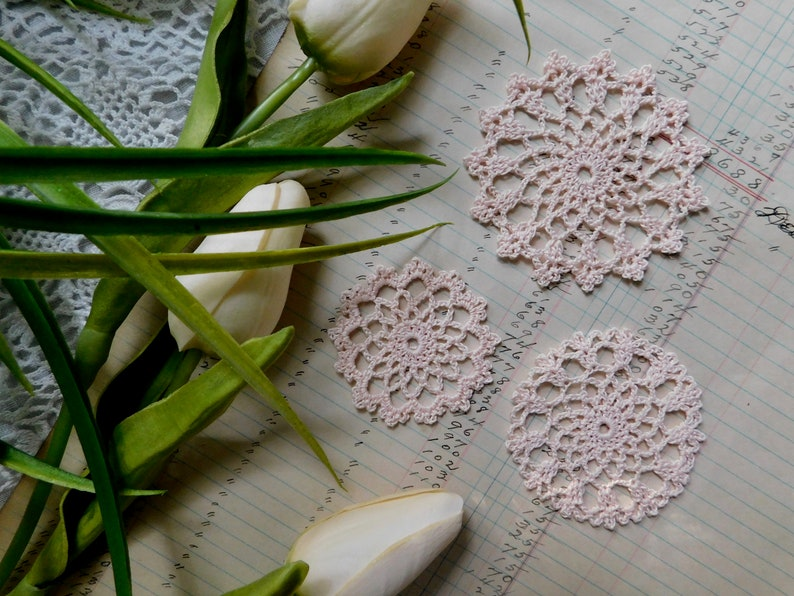 Set Of 3 Hand Crocheted Barley Pink Medallions S4