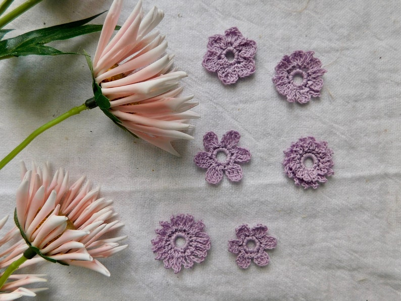 S3 Set Of 5 Hand Crocheted Country Purple Wildflower Pack