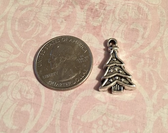 6 Ornamental Christmas Tree Charms Antique Silver Tone
