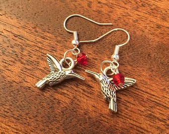 Red Beaded Handmade Hummingbird Earrings