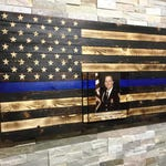 police officer gifts, thin blue line, wooden flag, funeral gift, police engraving gift, police academy graduation gift, SWAT gift, K9