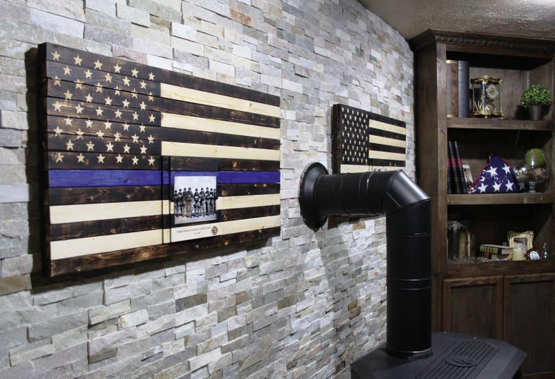 police officer gifts thin blue line wooden flag funeral image 0