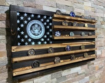 Challenge Coin Display, Military Retirement Gift, Military Graduation Gift, Army, LED Flag, Challenge Coins, Wood Flag, USA  Flag