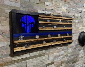 Thin Blue Line, Punisher Blue Line Wood Flag, Challenge Coin Flag, Badge Display, LED, Police Gift, LEO, Police K9, Retirement Gift,Tactical