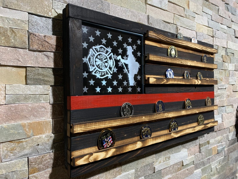Wood American Flag Fire Retirement Challenge Coin Challenge image 0