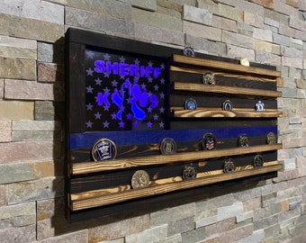 Wood American Flag, Police Retirement, Challenge Coin, Challenge Coin Display, Thin Blue Line, LED, 50 stars,Police Gift, TBL, LEO Wife