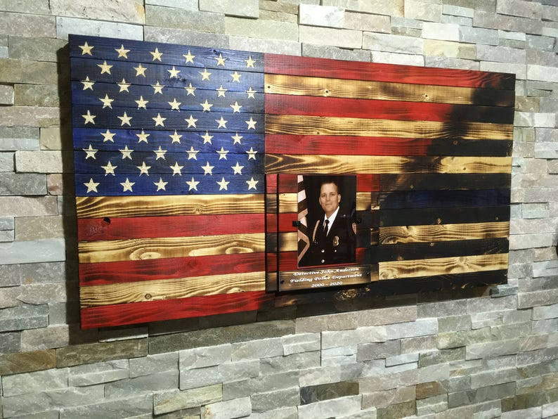 Police Blue Line Rustic Burnt Handcrafted American Wood Flag image 0