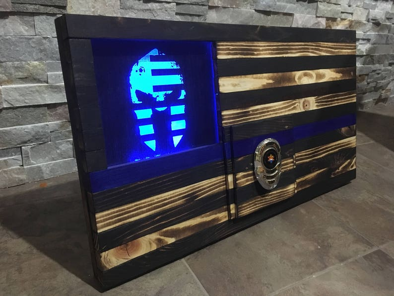 Thin Blue Line Spartan Police Officer Gift Military Gift image 0