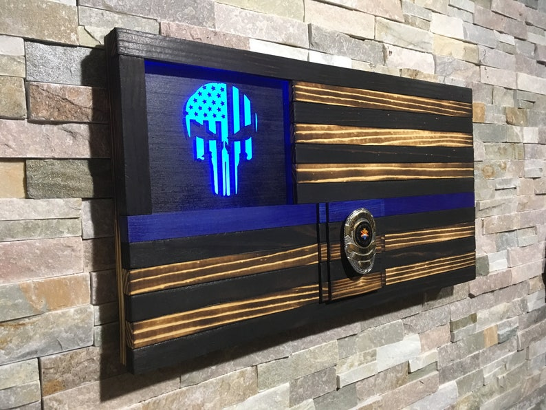 Thin Blue Line Punisher Police Flag Police Gift Rustic image 0