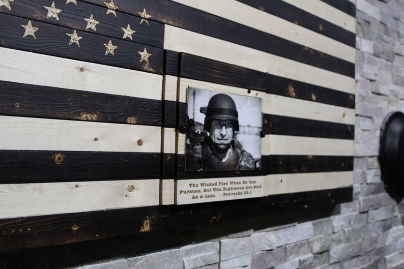 Navy Marine Army Air Force Memorial hand crafted wood image 0