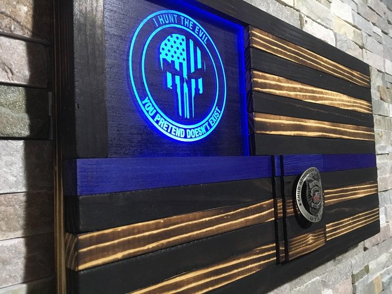 Thin Blue Line LED Flag Wood Flag Police Skull Punisher image 0