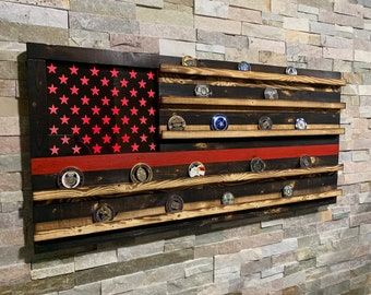Wood American Flag, Fire Retirement, Challenge Coin, Challenge Coin Display, Thin Red Line, Maltese Cross, firefighters Gift, TRL,
