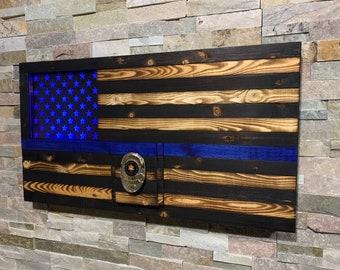 Thin Blue Line, Punisher, Police Flag, Police Gift, Rustic Wood Flag, One of a kind, Blue Line, LEO Gift, Punisher LED, Badge Display, LED