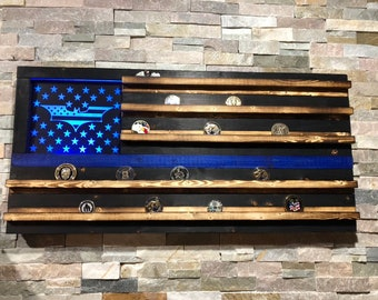 Wood American Flag, Police Retirement, Challenge Coin, Challenge Coin Display, Thin Blue Line, LED, Superhero, Police Gift, TBL, LEO Wife
