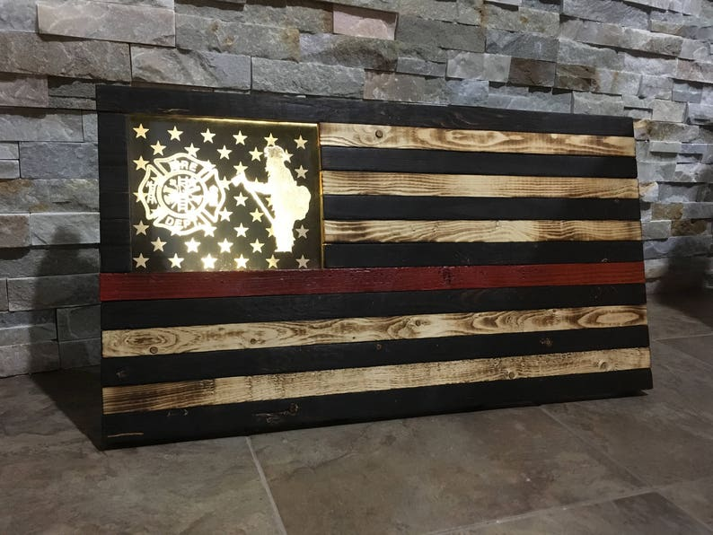 Thin Red Line Firefighter Flag Red Line Rustic Wood Flag image 0